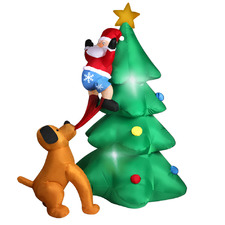 Santa Claus & Dog Inflatable Christmas Tree with LEDs