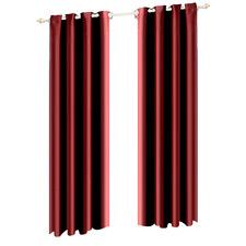 Burgundy Eyelet Fabric Blockout Curtain Panels (Set of 2)