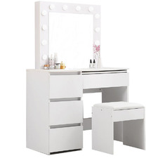 Madelaine 4 Drawer Dressing Table with Stool