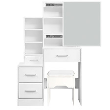 White Sameera Dressing Table with Stool