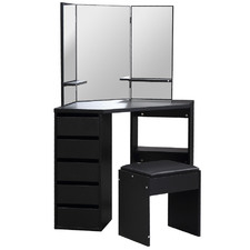 Black Madelaine Dressing Table with Stool