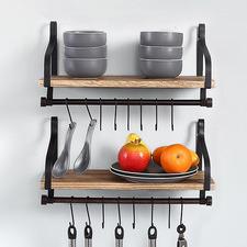 Norelle Rustic Paulownia Wood Floating Shelves (Set of 2)