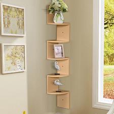 Brooke 5 Tier Modern Corner Wall Shelf