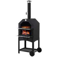 3-In-1 Portable Charcoal BBQ Grill, Pizza Oven & Smoker