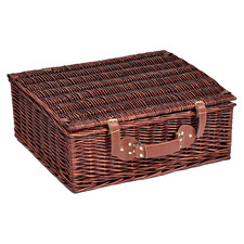 Brown & Blue 4 Person Deluxe Picnic Basket Set