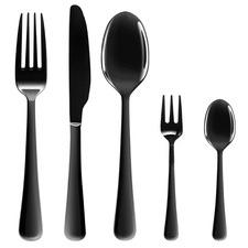 30 Piece Black Prism Stainless Steel Cutlery Set