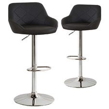 Bennett Swivel Faux Leather Adjustable Barstools (Set of 2)