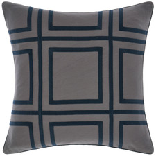 Navy Treillage Square Cotton Cushion