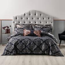 Navy Yvette Cotton-Blend Quilt Cover Set