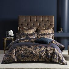 Navy Verity Cotton-Blend Quilt Cover Set