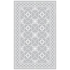 Grey & White Havana Vinyl Floor Mat