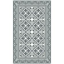 Grey & White Flor de Lis Vinyl Floor Mat