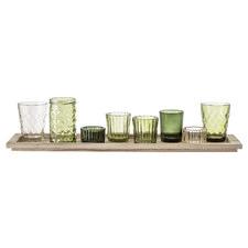 9 Piece Green Glass Votives on Tray Set