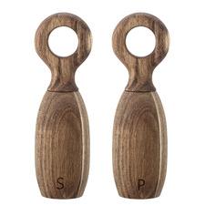 2 Piece Natural Acacia Wood Salt & Pepper Mill Set