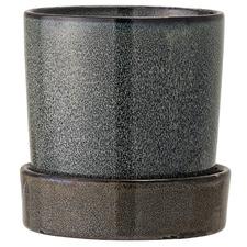 Grey Stoneware Planter Pot with Saucer