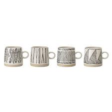 4 Piece Black & White Ethic Mug Set
