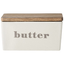 Classic Bamboo & Stoneware Butter Dish