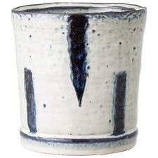 Cream & Navy 14cm Ceramic Planter