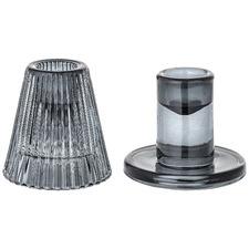 2 Piece Grey Glass Candlestick Set