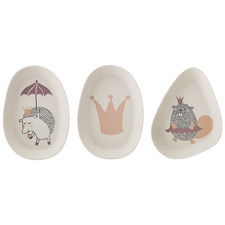 3 Piece Kids' Princess Bamboo Side Plate Set
