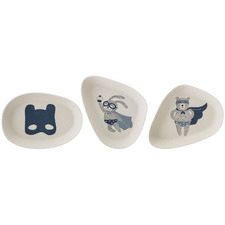 3 Piece Kids' Superhero Bamboo Side Plate Set