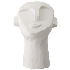 White Cement Face Sculpture