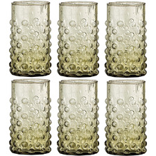 Green 250ml Drinking Glasses (Set of 6)