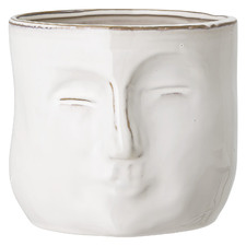 White Stoneware Plant Pot