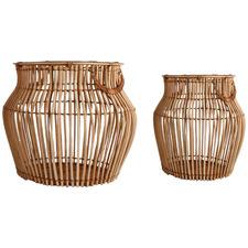 2 Piece Aesha Rattan Belly Basket Set