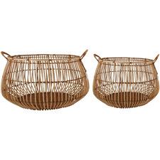 2 Piece Aesha Rattan Bulb Basket Set
