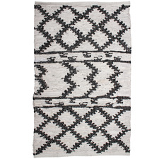 Aztec Moatsu Hand-Knotted Cotton & Leather Rug