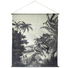 Vintage-Style Cranes Canvas Wall Hanging