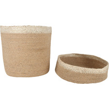2 Piece White Band Douglas Jute Basket Set