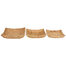 3 Piece Square Hyace Water Hyacinth Basket Set
