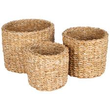 3 Piece Cylinder Sunshine Seagrass Basket Set