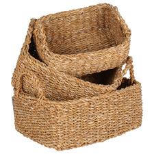 3 Piece Rectangular Bondi Seagrass Basket Set