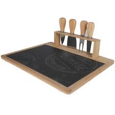 5 Piece Lovina Bamboo Cheese Tray & Knife Set