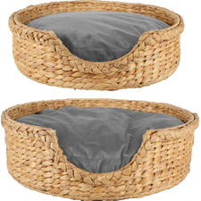 2 Piece Round Jazz Water Hyacinth Pet Bed Set