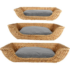 3 Piece Rectangular Jazz Water Hyacinth Pet Bed Set