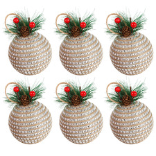 Diamonte Baubles with Pine (Set of 6)