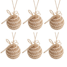 Daylin Burlap-Wrapped Baubles (Set of 6)