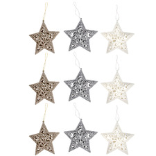 9 Piece 3D Glittered Engraved Star Hanging Ornament Set