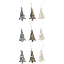 9 Piece 3D Glittered Engraved Tree Hanging Ornament Set