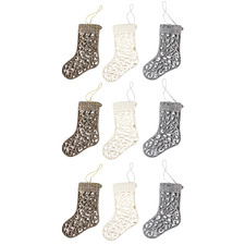 9 Piece 3D Glittered Engraved Stockings Hanging Ornament Set