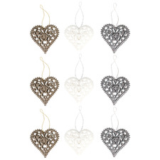 9 Piece 3D Glittered Engraved Hearts Hanging Ornament Set