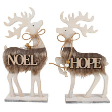 2 Piece Noel Reindeer Wooden Ornament Set