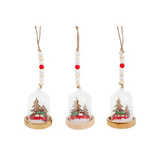3 Piece Christmas Tree on Car Hanging Snow Globe Set