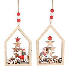 2 Piece Unicorn in House Ornament Set