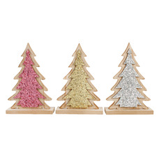 3 Piece Glittered Christmas Tree Wooden Ornament Set