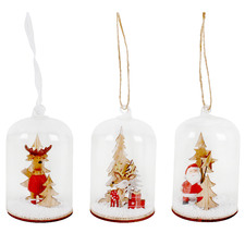 3 Piece Reindeer & Santa Hanging Snow Globe Set